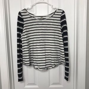 Free People Striped Long Sleeve Shirt